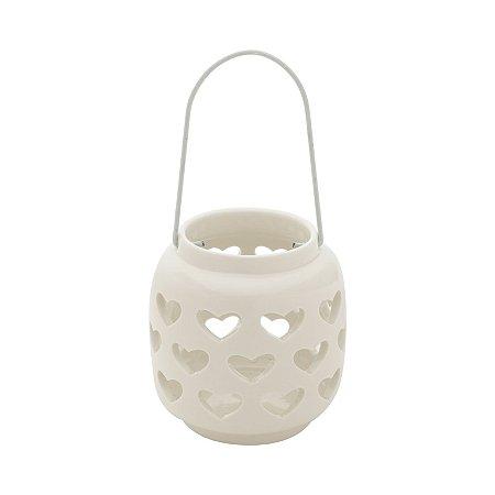 Castiçal Porcelana Coração Porcelana Vazado