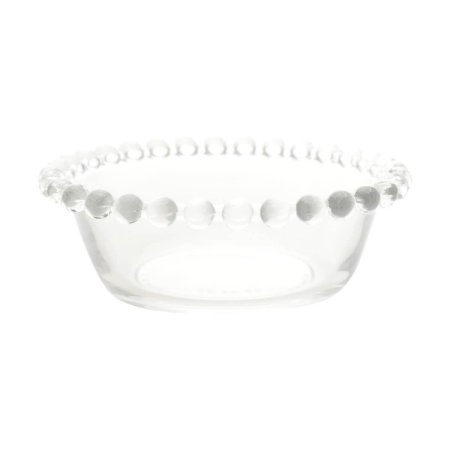 Bowl Decorativo Borda de Bolinhas Vidro Clear
