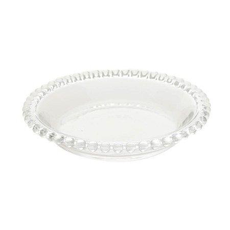 Prato Decorativo Borda de Bolinhas Vidro Clear