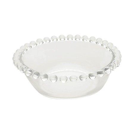Bowl Decorativo Borda de Bolinhas Vidro Clear Grande