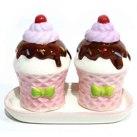 Saleiro e Pimenteiro Cupcake Rosa