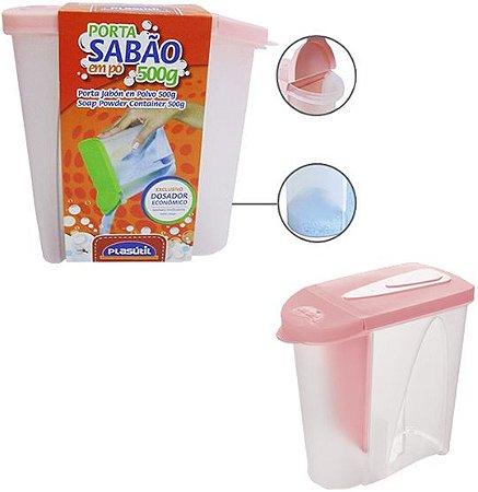 Porta Sabão em Pó Rosa 500 g -  Plasútil