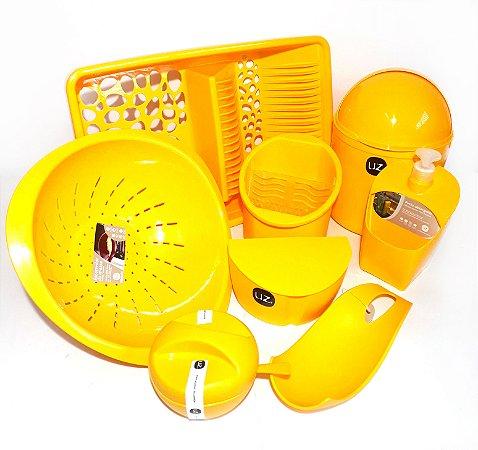 Kit Cozinha 6 Peças Amarelo - UZ + Suporte Talher Cortesia