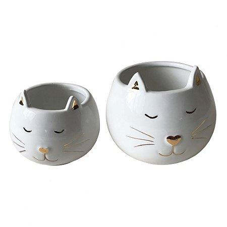 Conjunto de Potes de Cerâmica Gatinho
