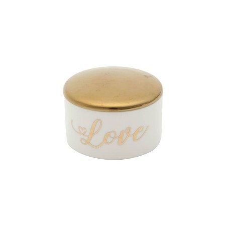 Porta Jóia Cerâmica Delicate Storage Branco e Dourado
