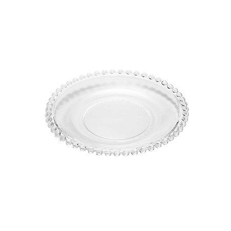 Prato de Cristal de Chumbo para Sobremesas Bolinhas Pearl Clear 19 cm - Wolff