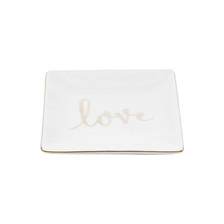 Mini Prato Decorativo Quadrado Branco Love