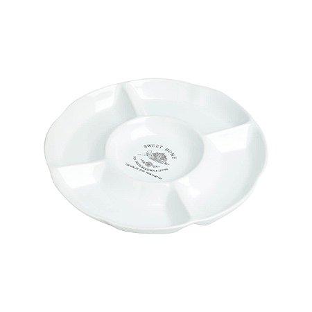 Petisqueira de Porcelana Sweet Home com 05 Divisões 23,5 Cm