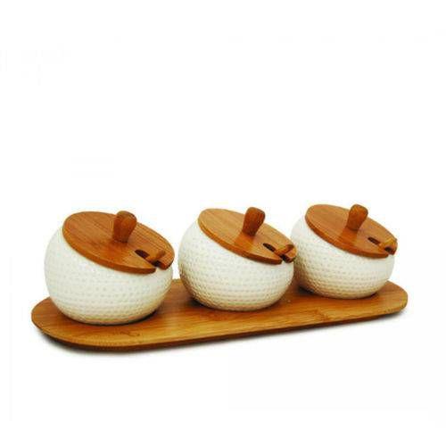 Porta Temperos com 03 potes Bambu - Yoi