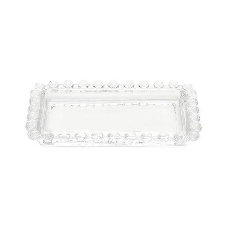 MIni Bandeja Decorativa Borda de Bolinhas Vidro Clear
