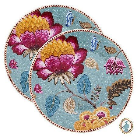 Set/2 Pratos de Pão Azul - Floral Fantasy - Pip Studio