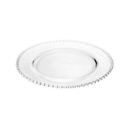 Prato Sousplat de Cristal de Chumbo Pearl Clear Bolinhas 32cm - Wolff
