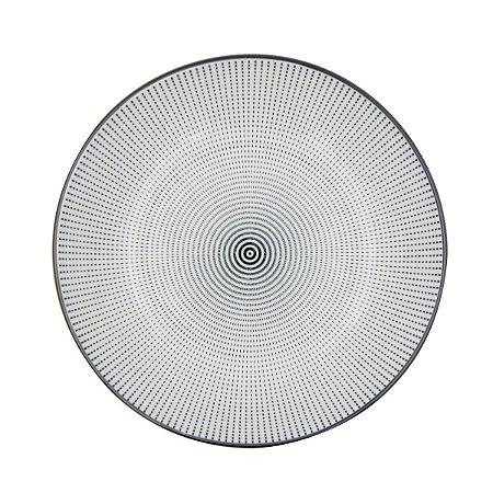 Prato Porcelana Decor Dot Angles Preto e Branco 20,4 cm