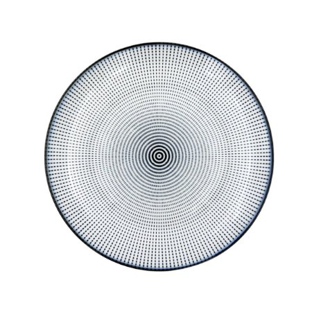 Prato Porcelana Decor Dot Angles Preto e Branco 19,5 cm