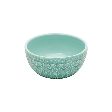 Bowl de Cerâmica Decor Embossed Heart and Flowers Verde