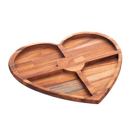 Petisqueira de Madeira Teca Coração
