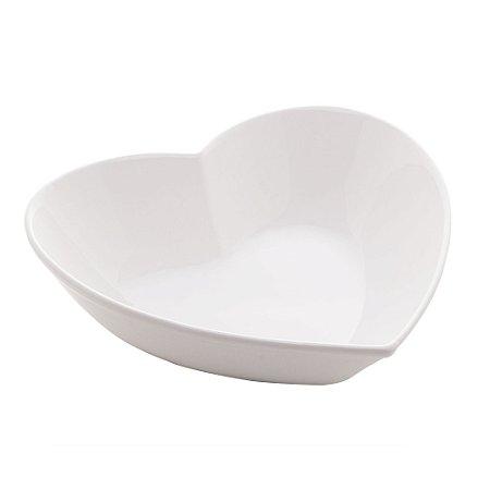 Prato Decorativo Coração Branco 16,7 cm