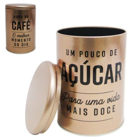 Conjunto de 2 Latas Bronze Sugar and Coffee