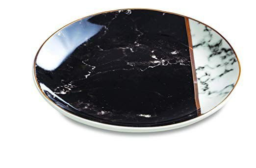 Mini Prato Decorativo Redondo Marble Preto