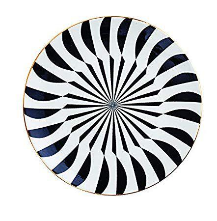 Prato Cerâmica Decorativo Illusion Preto e Branco 15 cm