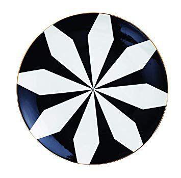 Prato Cerâmica Decorativo Preto e Branco 22 cm