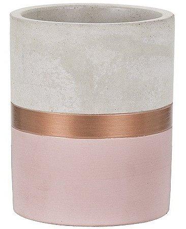 Vaso Cimento Cobre e Rosa 11 cm
