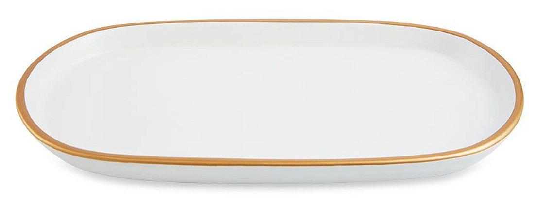 Bandeja de Cerâmica Branca e Dourada Pequena