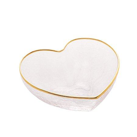 Bowl de Vidro Coração com Borda Dourada 12 cm