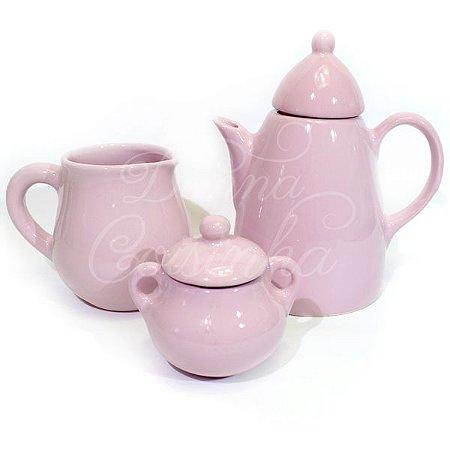 Jogo para Café de Cerâmica Rosa