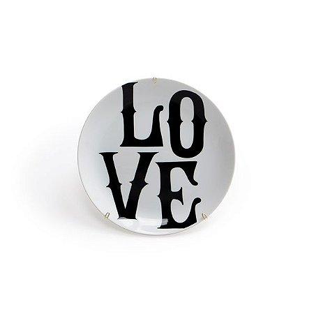 Prato Cerâmica Decorativo Love 19 cm
