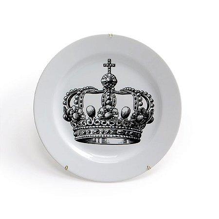 Prato Cerâmica Decorativo Coroa 25 cm