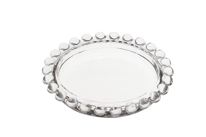 Mini Prato Decorativo Borda de Bolinhas Vidro Clear