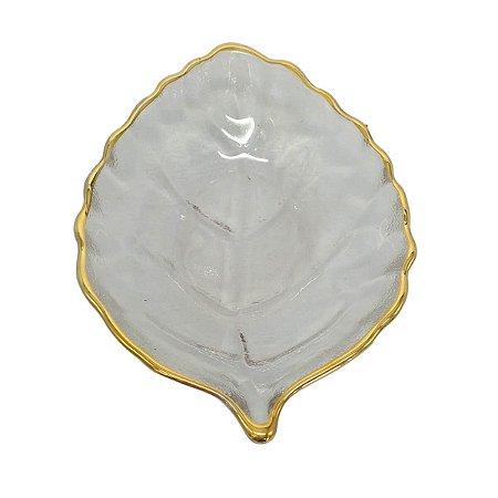 Mini Bowl Decorativo Folha Transparente e Dourado