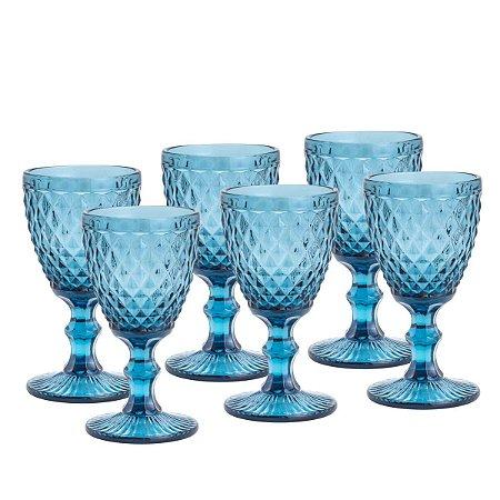 Jogo de 6 Taças Água Bico de Abacaxi Azul - Lyor
