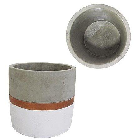 Vaso Cimento Cobre e Branco 8 cm