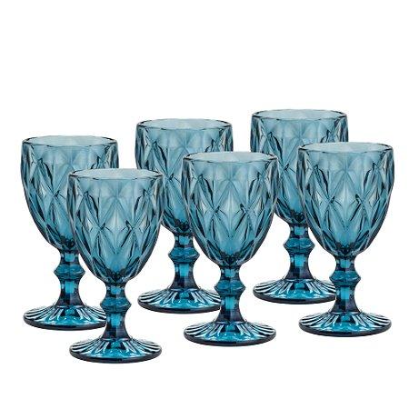 Jogo de 6 Taças Água Diamond Azul
