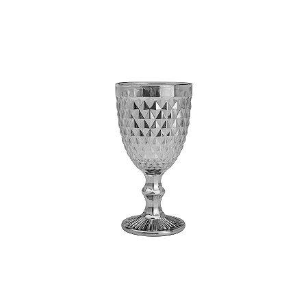 Jogo de 6 Taças Água Bico de Abacaxi Cinza Metalizado