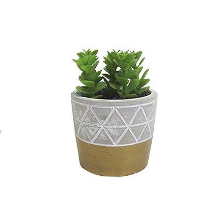 Cachepot de Cimento com Plantinha Artificial