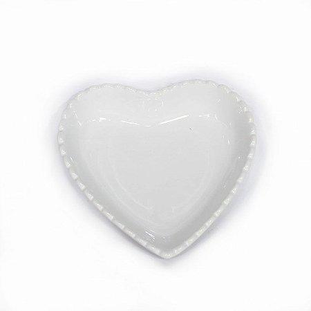 Travessa de Coração Borda Decorada Branca 15 cm