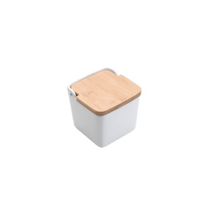 Saleiro de Cerâmica com Tampa de Madeira 12 cm