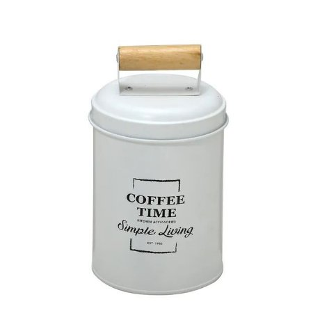 Lata de Café Branca com Puxador de Madeira