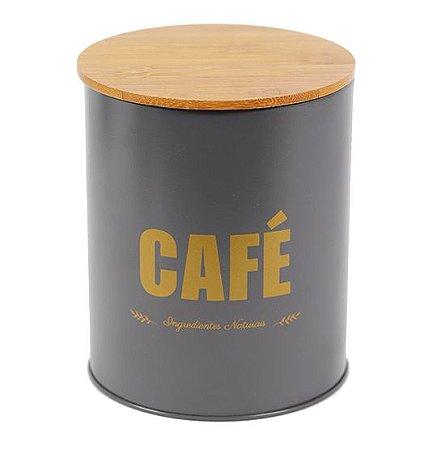 Lata Para Café Cinza com Tampa de Bambu