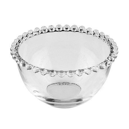 Bowl Decorativo Borda de Bolinhas Vidro Clear 14 cm Alto