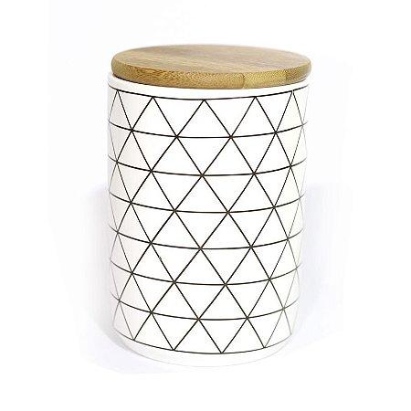 Pote Porcelana Losango com Tampa de Madeira 13,5 cm