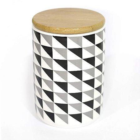 Pote Porcelana Triângulos com Tampa de Madeira 13,5 cm
