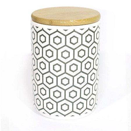 Pote Porcelana Colméia com Tampa de Madeira 13,5 cm