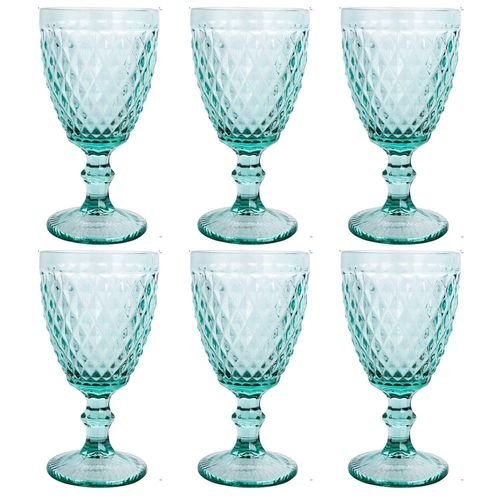 Jogo de 6 Taças Vinho Azul Tiffany Bico de Abacaxi - Mimo Style