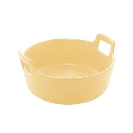 Travessa Porcelana Redonda com Alça Amarelo Matt 16 cm - Bom Gourmet