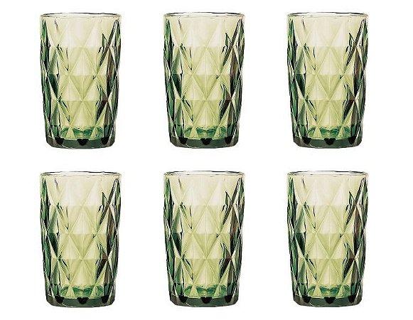 Conjunto de 06 Copos Vidro Diamond Verde - Lyor
