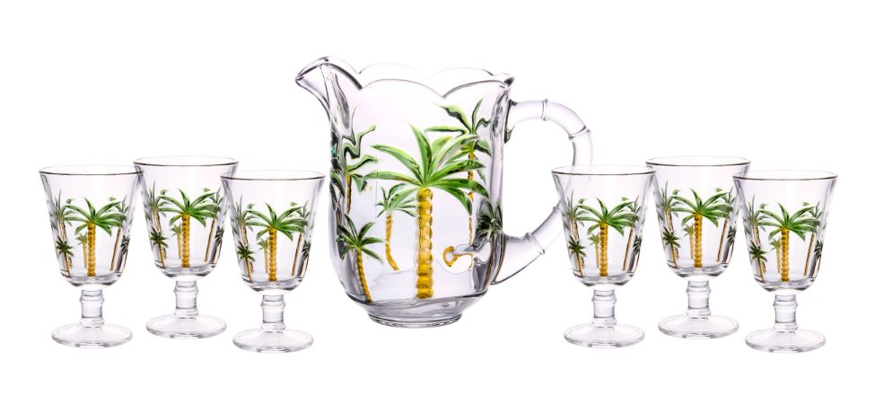 Conjunto de Jarra e 06 Taças de Vidro Palm Hand- Lyor